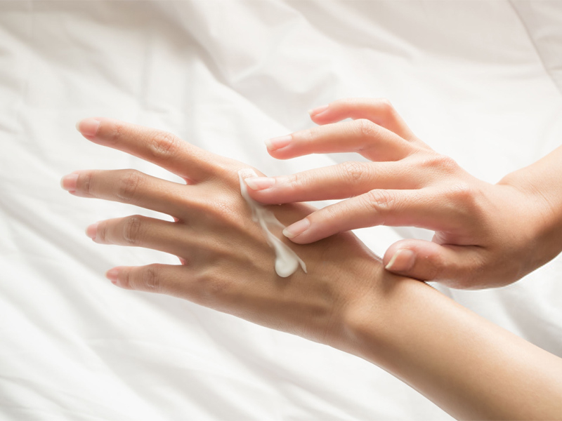 hand cream on hands